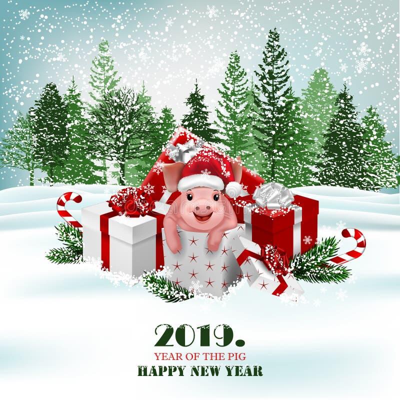 Fondo del día de fiesta de la Navidad con los presentes y el cerdo lindo Vector stock de ilustración