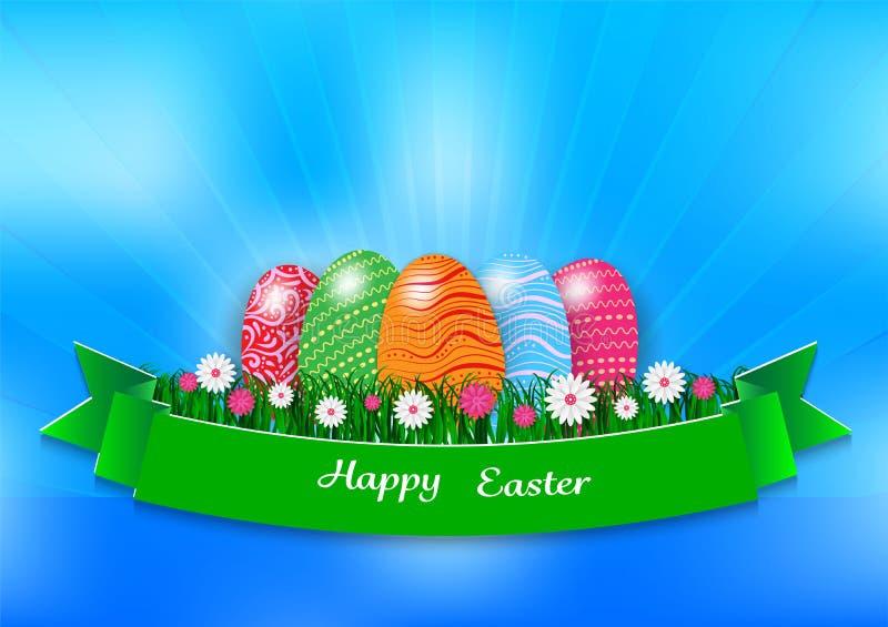 Fondo del día de fiesta de Pascua con los huevos y la hierba verde en el fondo azul, ejemplo del vector libre illustration
