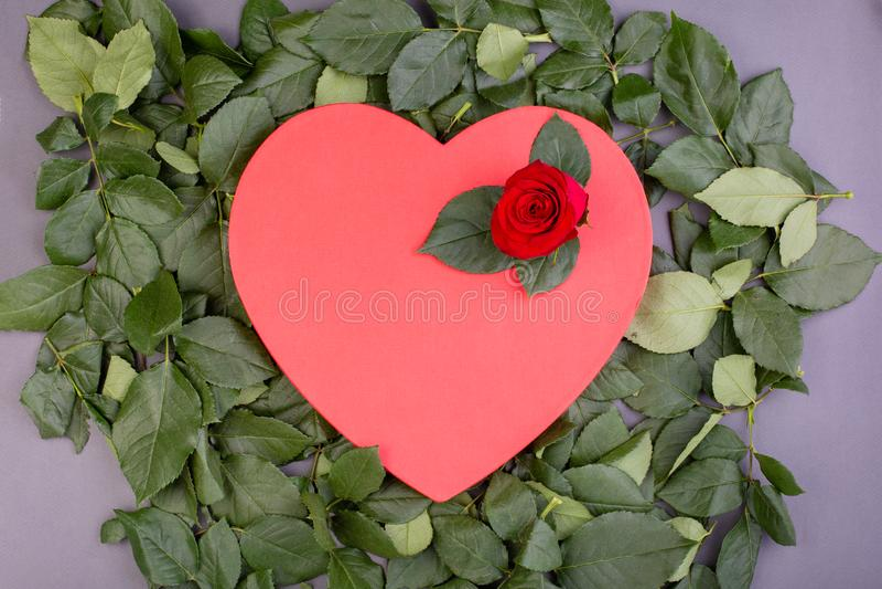 Fondo del día de fiesta, día del ` s de la tarjeta del día de San Valentín Caja en la forma de un corazón rojo adornado con una r imagenes de archivo