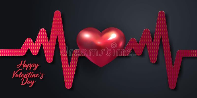 Fondo del día de fiesta de día de San Valentín con el corazón del metal 3d y la imitación rojos del ritmo cardíaco en fondo negro ilustración del vector