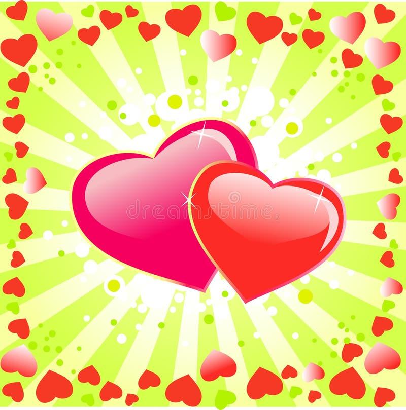 Fondo del día de Love.Valentines con el corazón. stock de ilustración