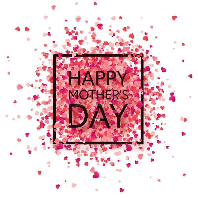 Fondo del día de madres con los corazones rojos Tarjeta de felicitación, plantilla con las letras En forma de corazón holiday libre illustration
