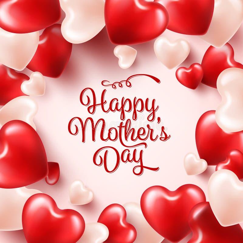Fondo del día de madres con los corazones rojos Tarjeta de felicitación, plantilla con las letras En forma de corazón holiday ilustración del vector