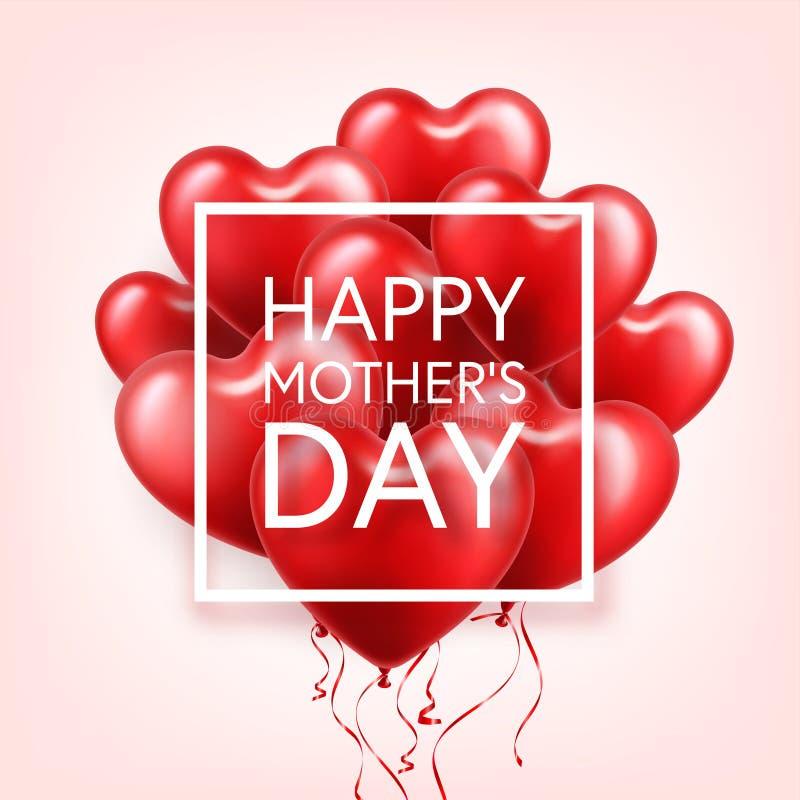 Fondo del día de madres con los globos rojos de los corazones Tarjeta de felicitación, plantilla Con las letras En forma de coraz stock de ilustración