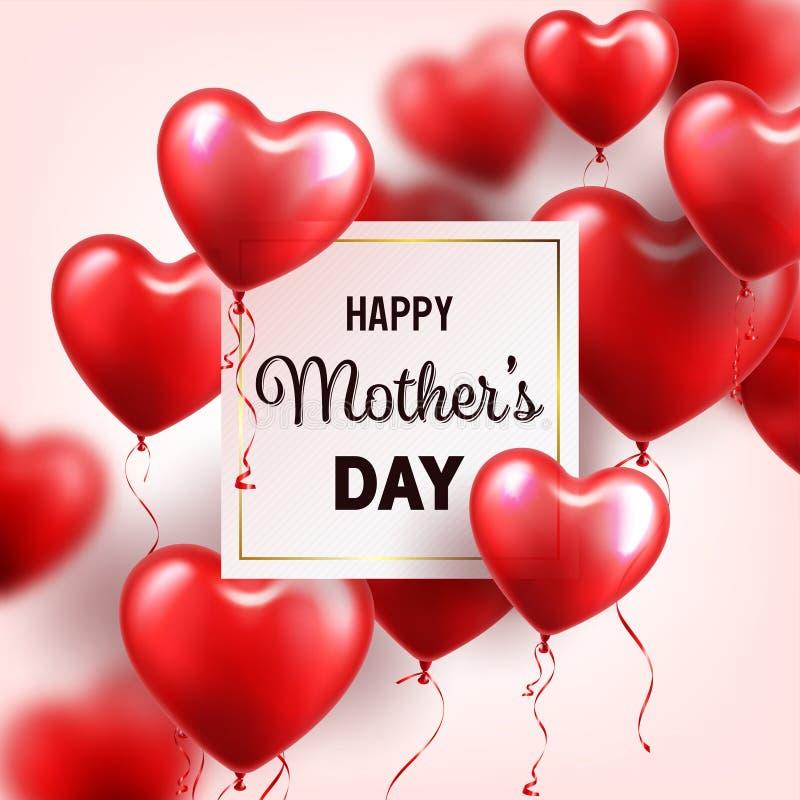 Fondo del día de madres con los globos rojos de los corazones Tarjeta de felicitación, plantilla Con las letras En forma de coraz libre illustration