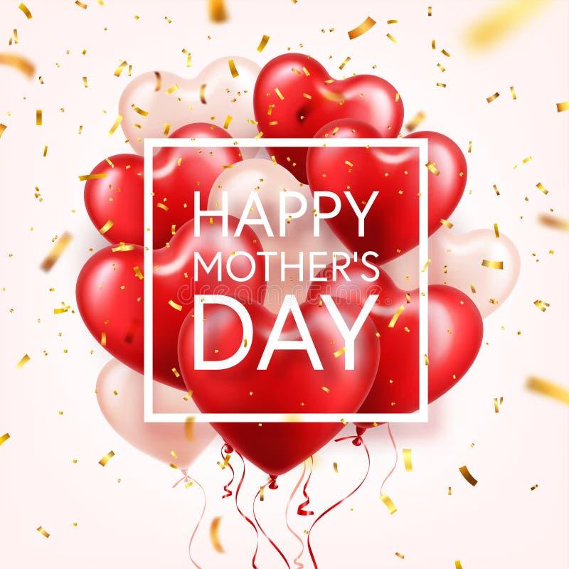 Fondo del día de madres con los globos y el confeti rojos de los corazones Tarjeta de felicitación, plantilla Con las letras En f libre illustration