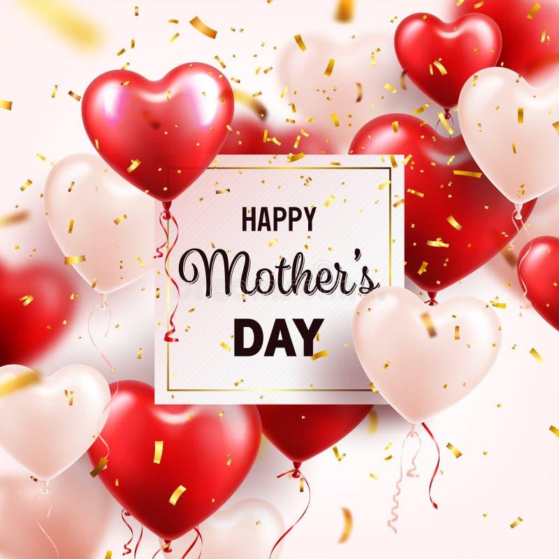 Fondo del día de madres con los globos y el confeti rojos de los corazones Tarjeta de felicitación, plantilla Con las letras En f stock de ilustración