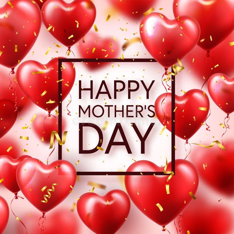 Fondo del día de madres con los globos y el confeti rojos de los corazones Tarjeta de felicitación, plantilla Con las letras En f ilustración del vector
