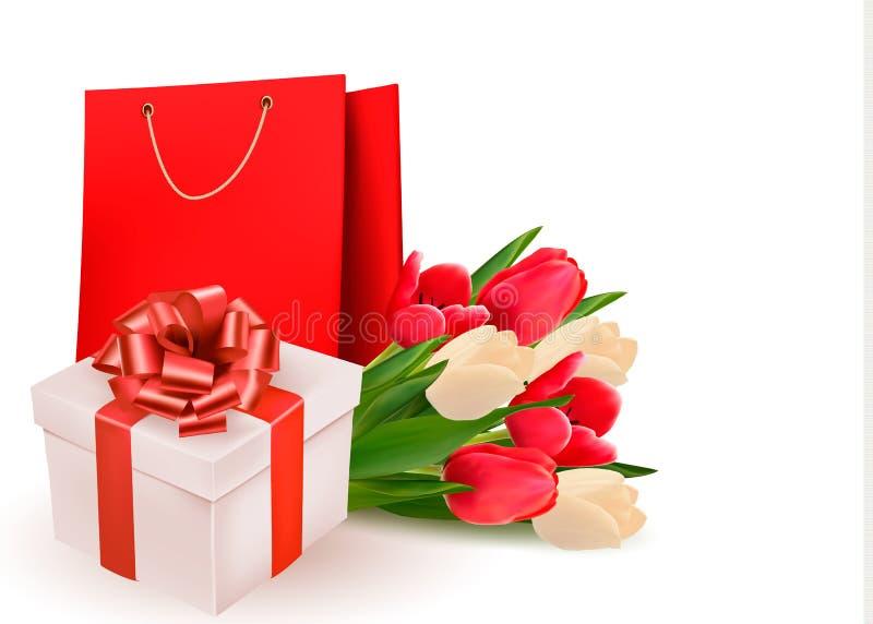 Fondo del día de San Valentín con la caja y las flores de regalo stock de ilustración