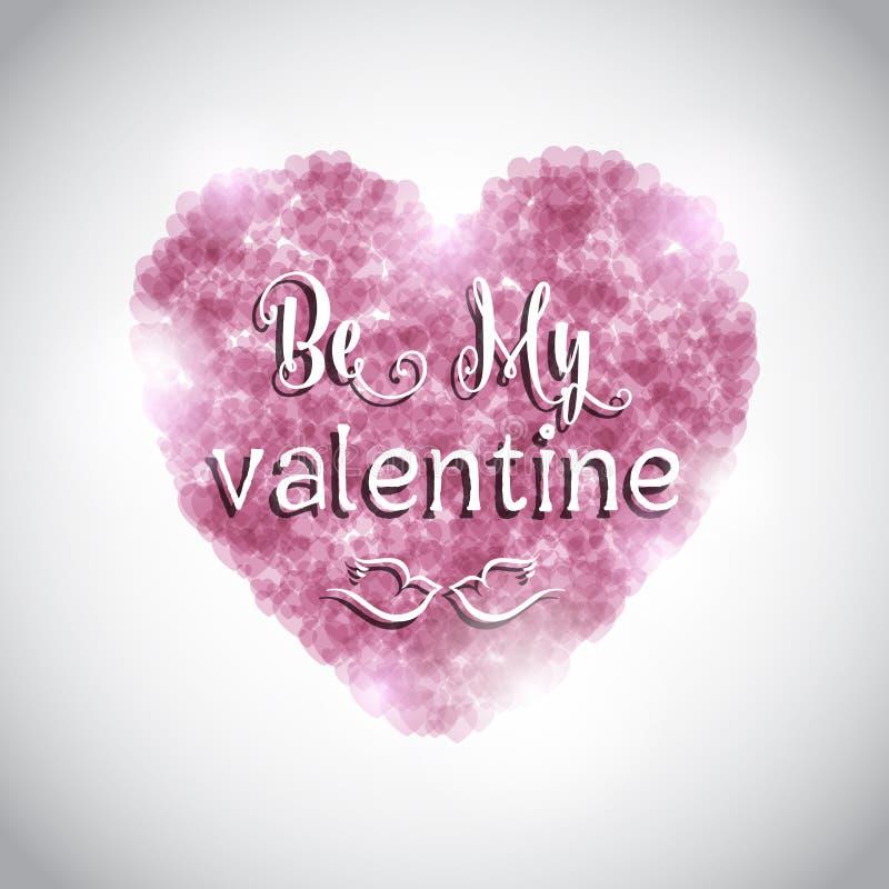 Fondo del día de tarjeta del día de San Valentín con el corazón rosado stock de ilustración