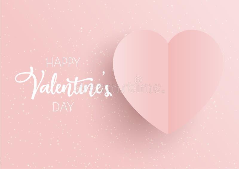 Fondo del día de tarjeta del día de San Valentín con el corazón rosado ilustración del vector