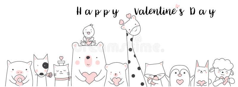 Fondo del día de tarjeta del día de San Valentín con la historieta animal h del bebé lindo ilustración del vector