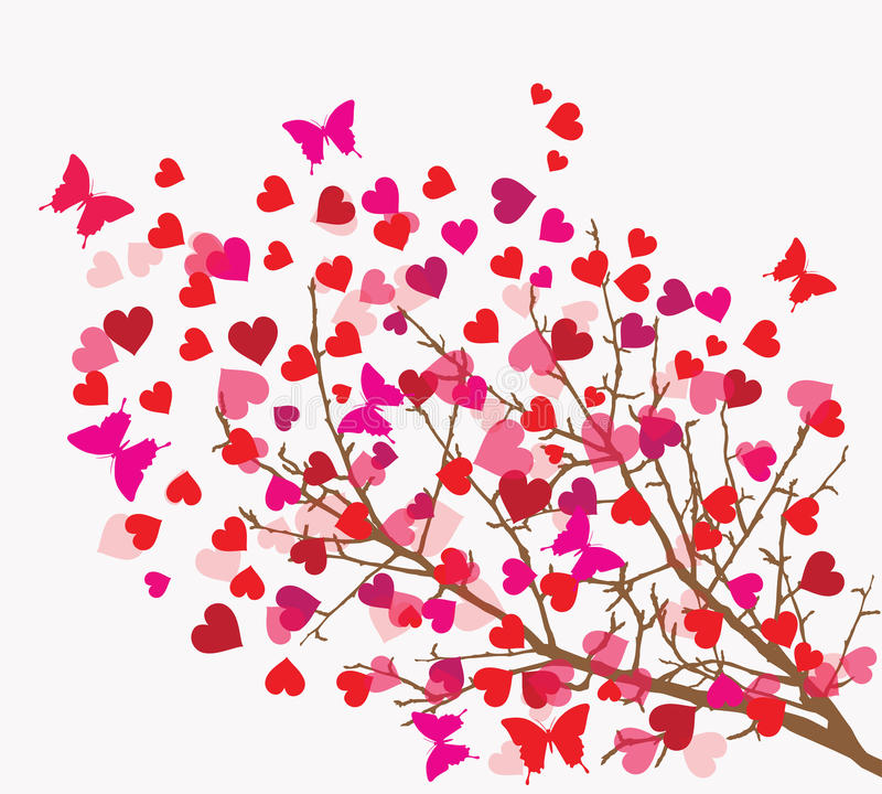 Fondo del día de tarjetas del día de San Valentín. Árbol con los corazones () ilustración del vector