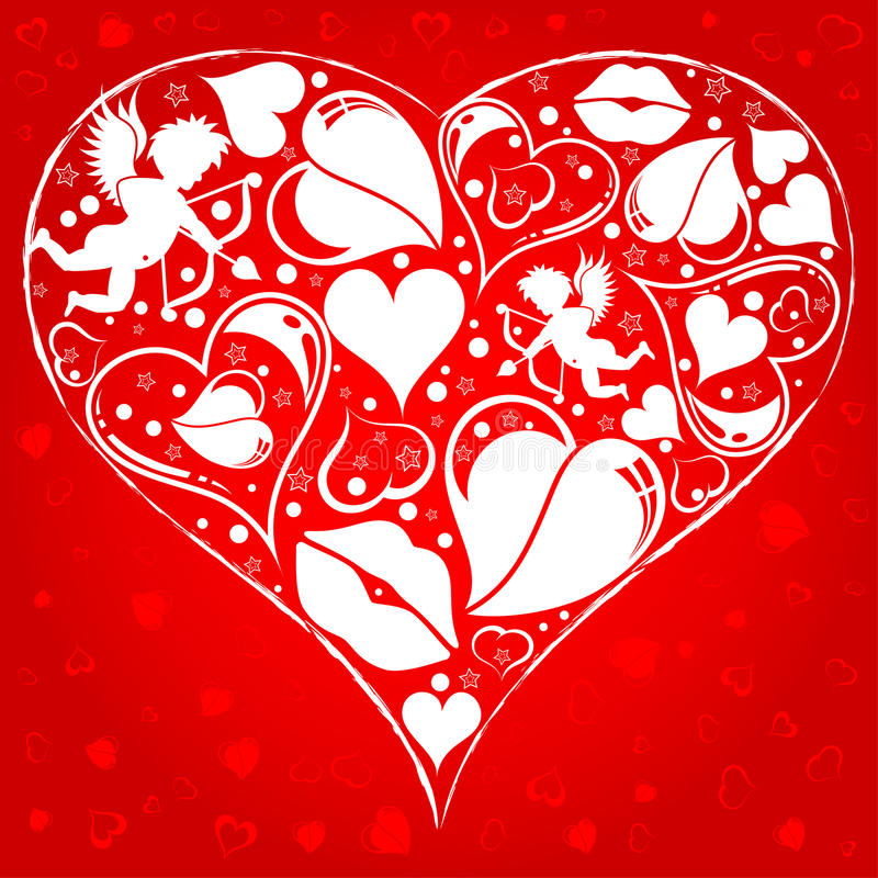 Fondo del día de tarjetas del día de San Valentín ilustración del vector