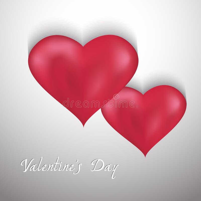 Fondo del día de tarjetas del día de San Valentín con dos corazones stock de ilustración