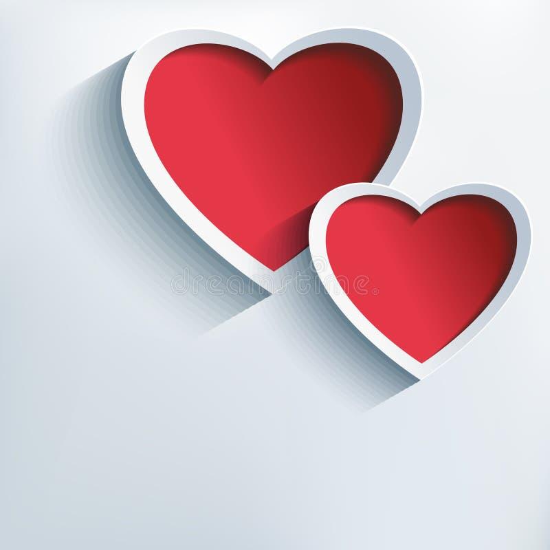 Fondo del día de tarjetas del día de San Valentín con dos corazones 3d stock de ilustración