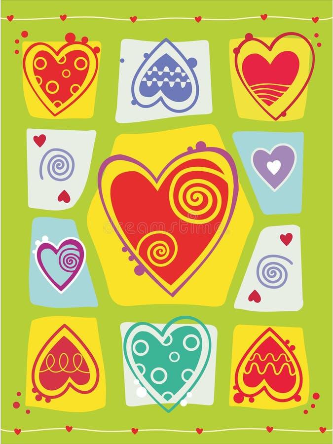 Fondo del día de tarjetas del día de San Valentín con el corazón ilustración del vector