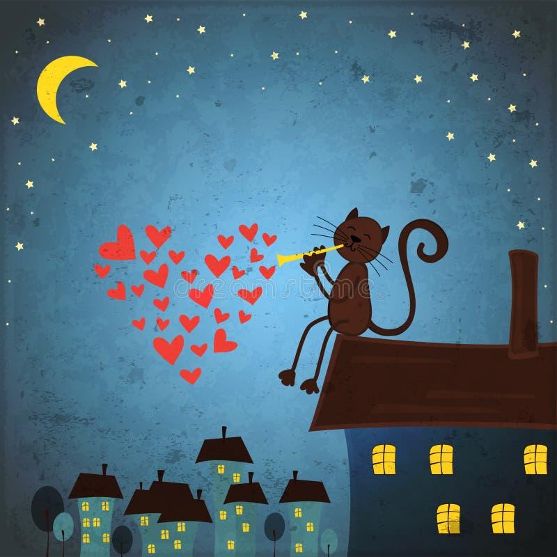 Fondo del día de tarjetas del día de San Valentín con el gato y el corazón stock de ilustración