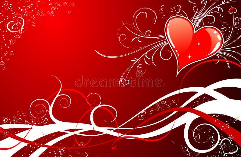 Fondo del día de tarjetas del día de San Valentín con los corazones y los florals libre illustration
