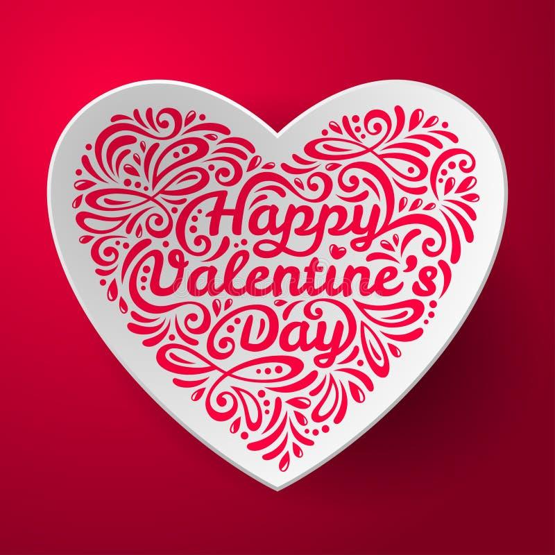 Fondo del día de tarjetas del día de San Valentín con tridimensional ilustración del vector