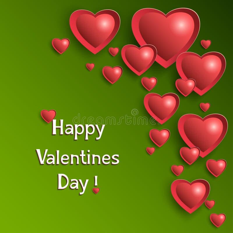 Fondo del día de tarjetas del día de San Valentín con los corazones que brillan intensamente stock de ilustración