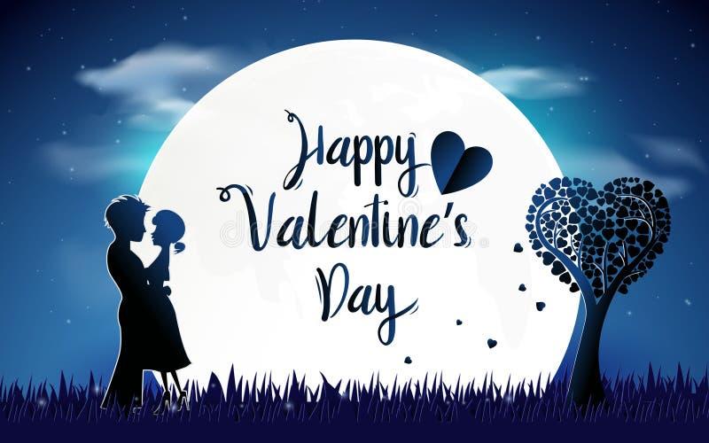 Fondo del día de tarjetas del día de San Valentín Pares que se colocan con amor romántico del concepto de la luna Escena de la no libre illustration