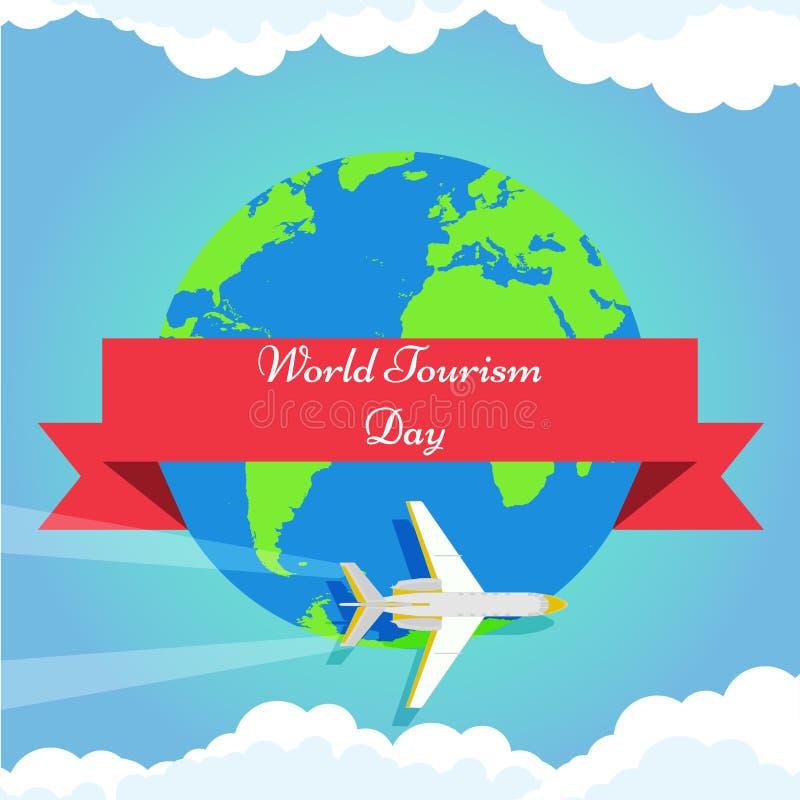 Fondo del día de turismo de mundo con tierra verde, el aeroplano y el cartel del ejemplo del vector de las nubes stock de ilustración