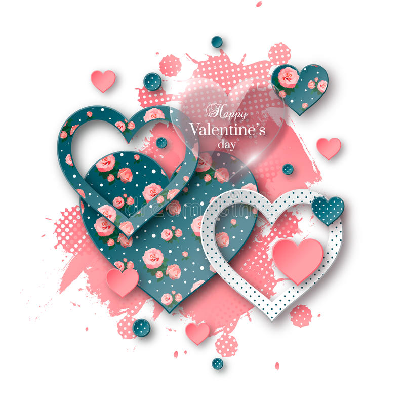 Fondo del día del ` s de la tarjeta del día de San Valentín con el corazón de papel cortado stock de ilustración