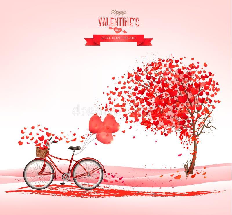 Fondo del día del ` s de la tarjeta del día de San Valentín con un árbol en forma de corazón libre illustration