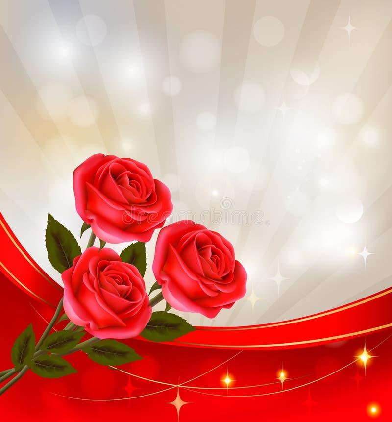 Fondo del día del ` s de la tarjeta del día de San Valentín. Rosas rojas y rojo del regalo stock de ilustración