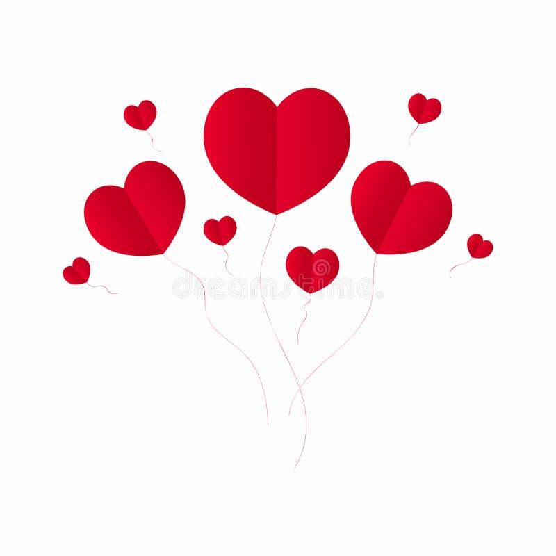 Fondo del día del ` s de la tarjeta del día de San Valentín con los corazones rojos en estilo de la papiroflexia Corazones rojos  stock de ilustración