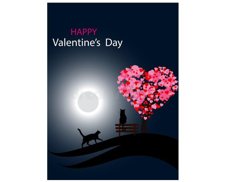 Fondo del día del ` s de la tarjeta del día de San Valentín con los gatos y un árbol hecho fuera de corazones Vector stock de ilustración