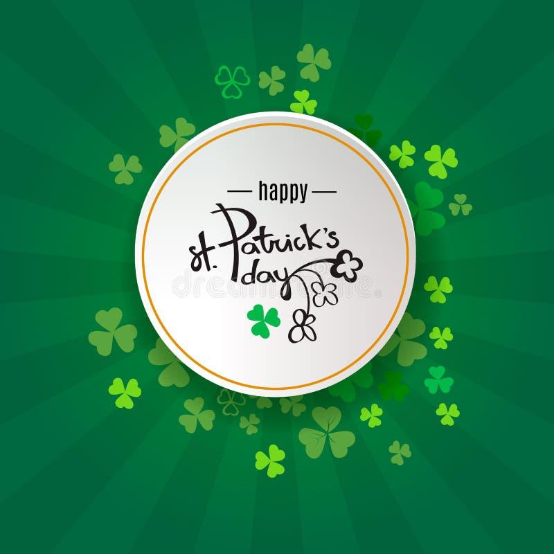 Fondo del día del `s del St Patrick Diseño retro del cartel con el símbolo de Irlanda del trébol Frontera verde del trébol y marc ilustración del vector