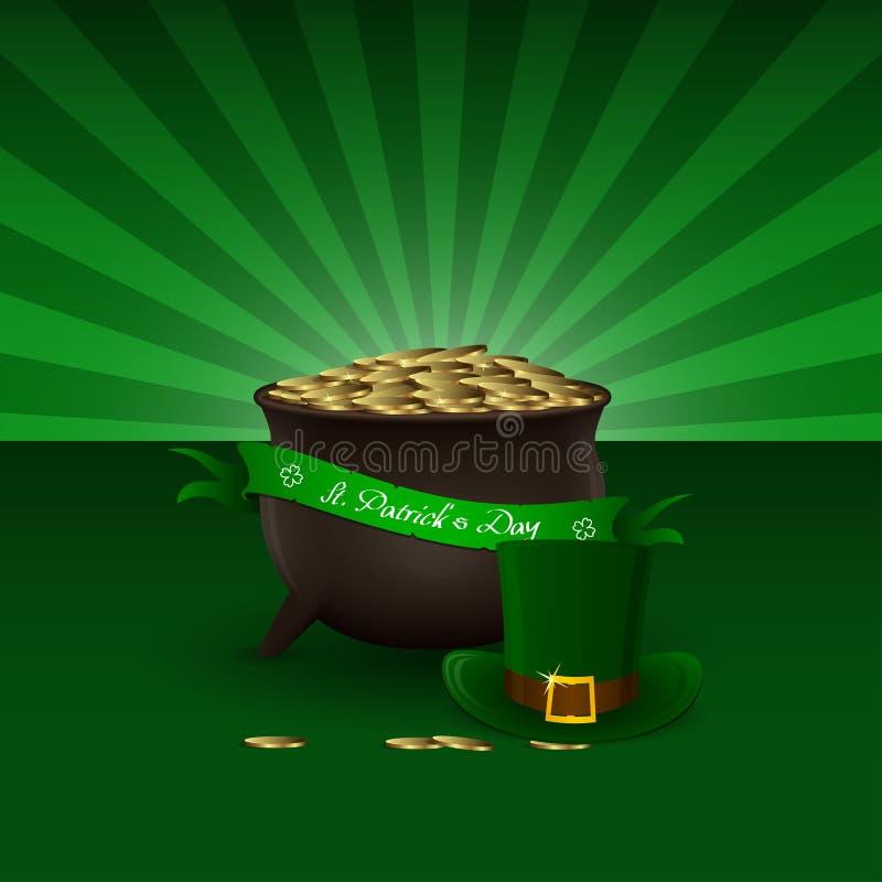Fondo del día del St Patricks del vector con el pote del duende por completo de monedas de oro y del sombrero verde stock de ilustración