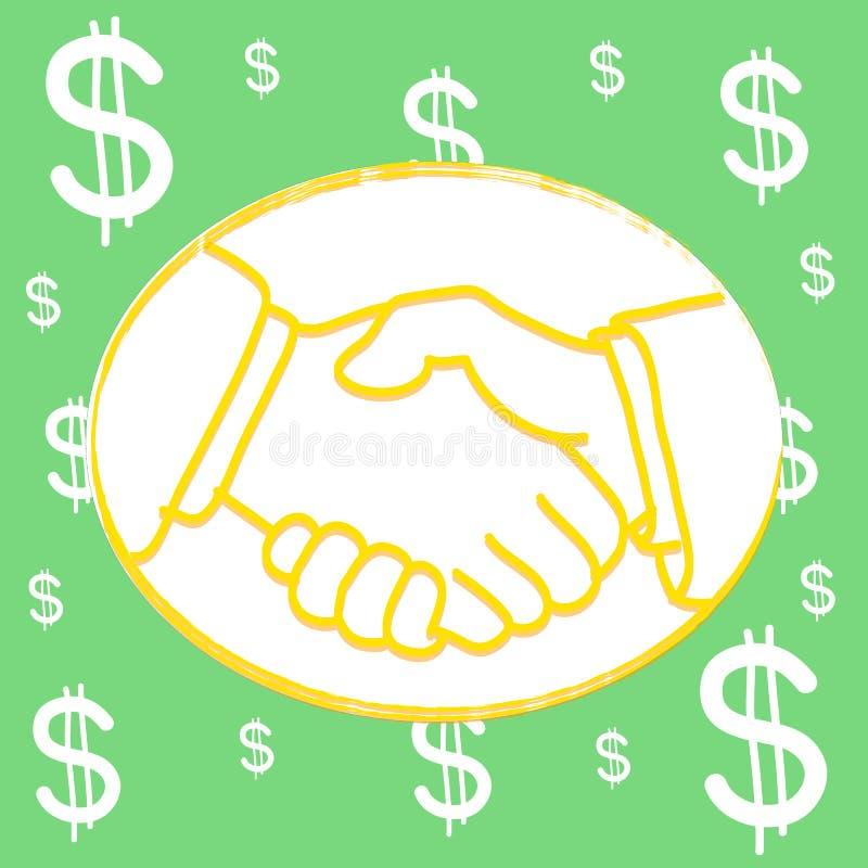 Fondo del dólar de Shakehand ilustración del vector