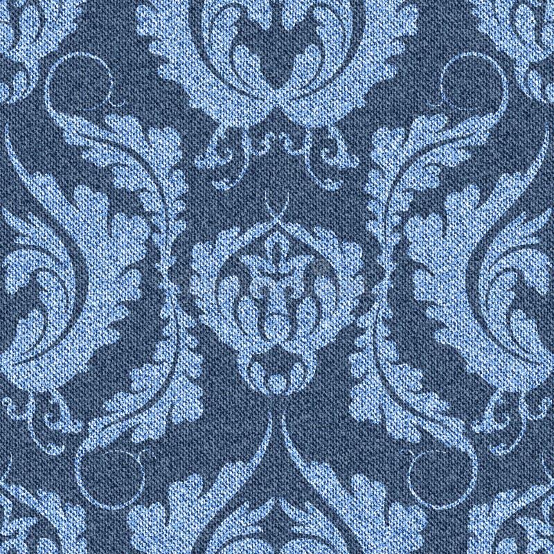 Fondo del denim con il modello vittoriano Jeans senza cuciture blu con la stampa leggera illustrazione di stock