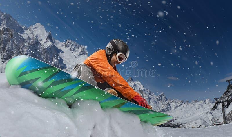 Fondo del deporte Deporte de invierno, snowboarder imagen de archivo