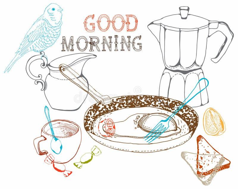 Fondo del desayuno de la mañana del vintage libre illustration