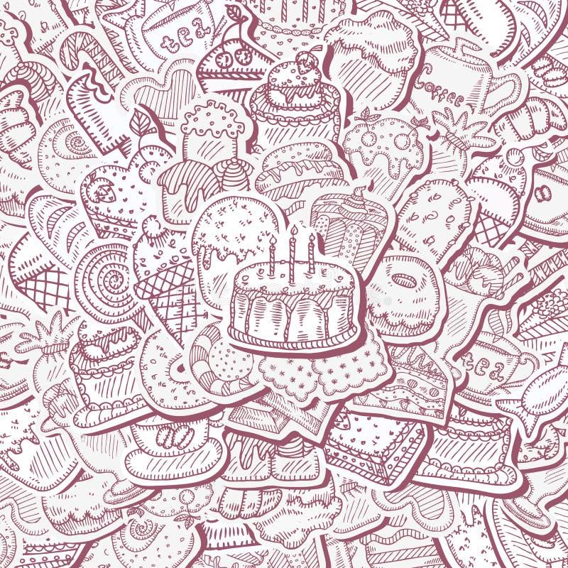 Fondo del dessert illustrazione vettoriale