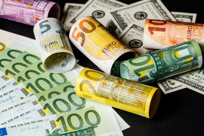 Fondo del dinero Euro y dólar imagen de archivo libre de regalías