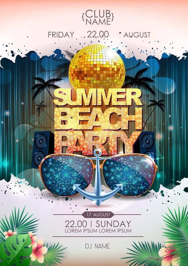 Fondo del disco Cartel del partido de la playa del verano de la bola de discoteca ilustración del vector