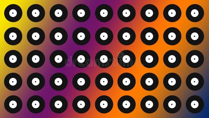Fondo del disco Cerchi bianchi e neri variopinti immagine stock