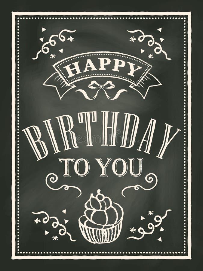 Fondo del diseño de tarjeta de cumpleaños de la pizarra ilustración del vector