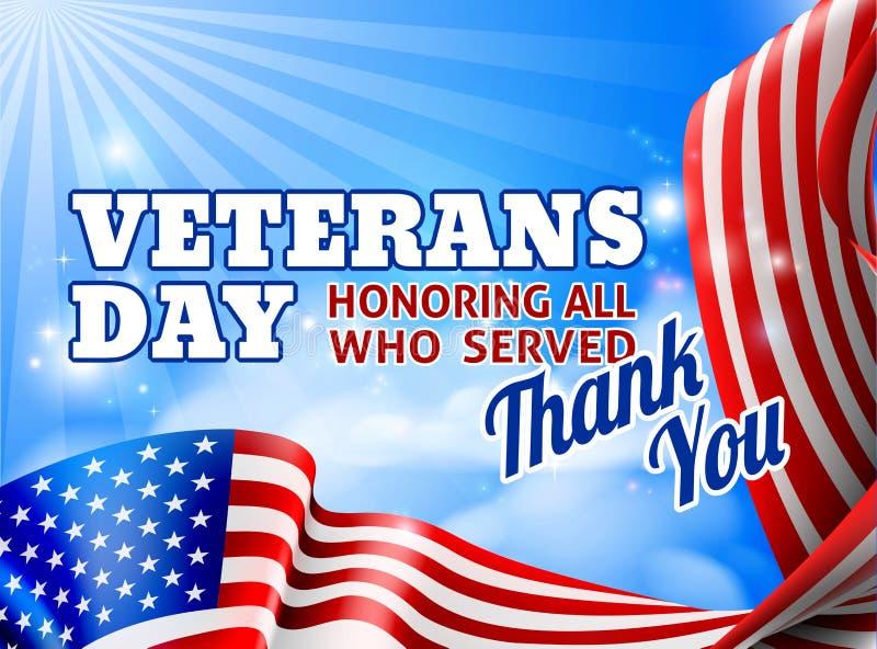 Fondo del diseño del cielo de la bandera americana del día de veteranos libre illustration
