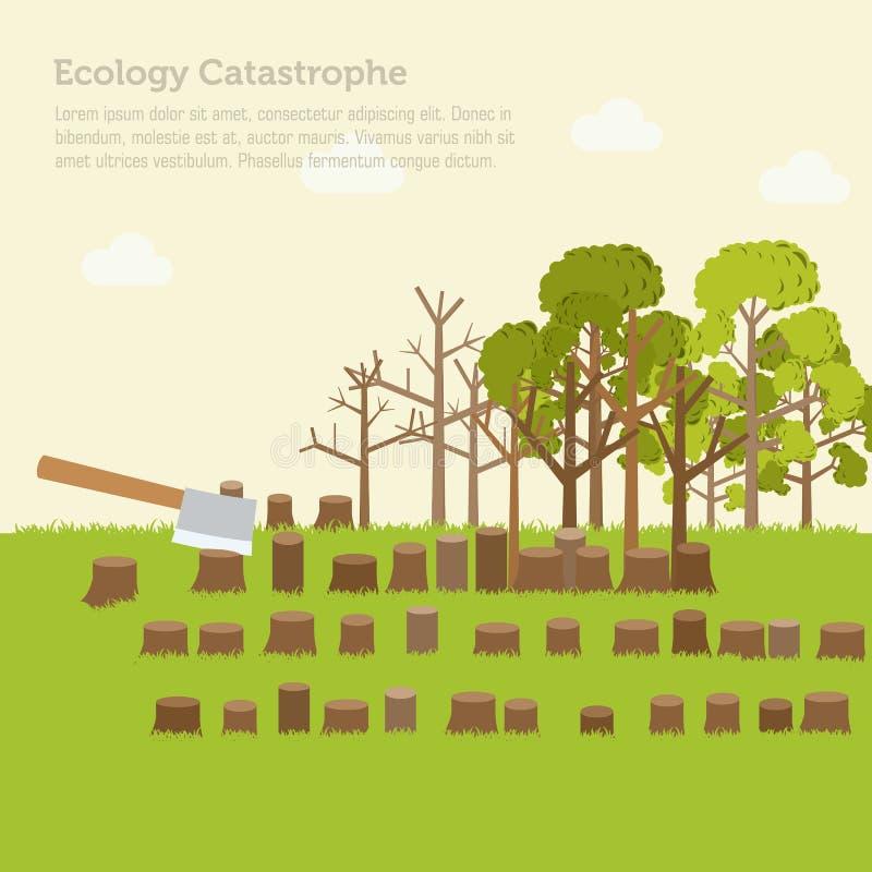 Fondo del diseño del ejemplo de la tala de árboles del problema stock de ilustración