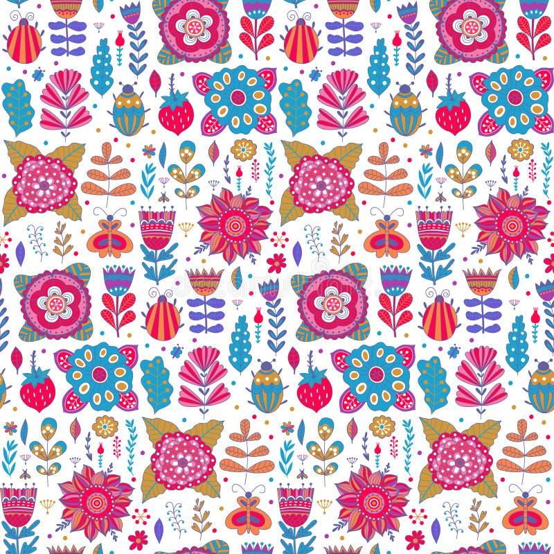 Fondo del diseño del estampado de flores del vector con stock de ilustración