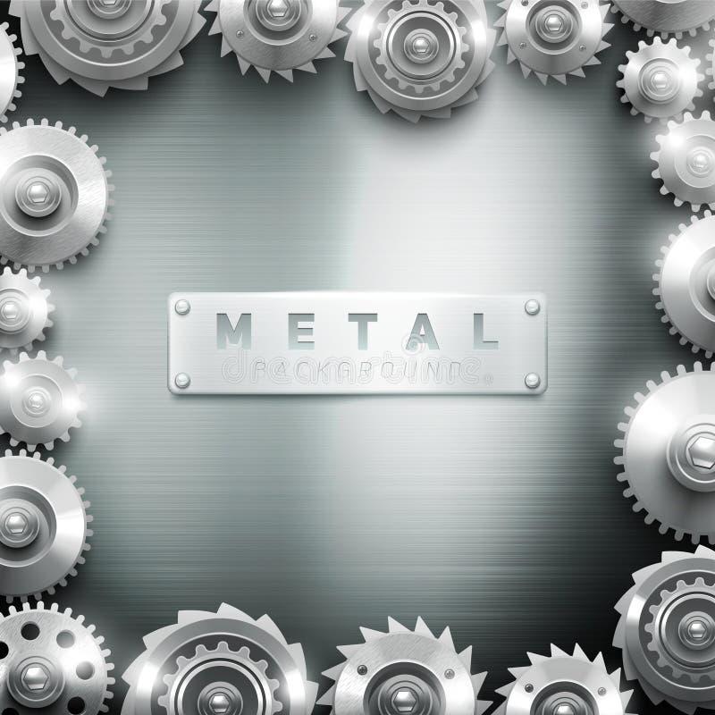Fondo Del Diseño Del Marco De La Rueda Dentada Del Metal Ilustración ...