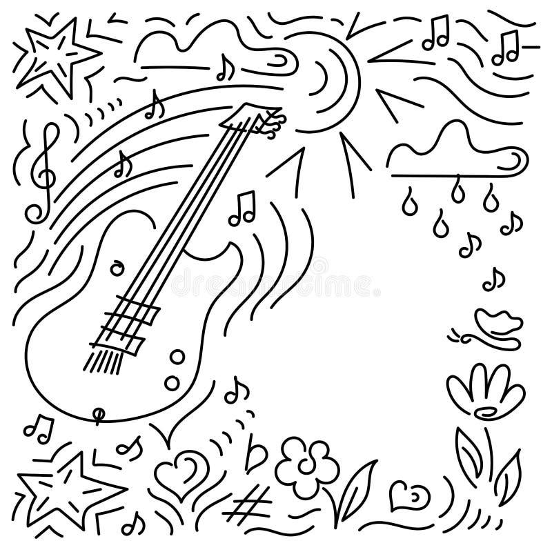 Fondo del Doodle Concierto de la música del cartel, festival stock de ilustración