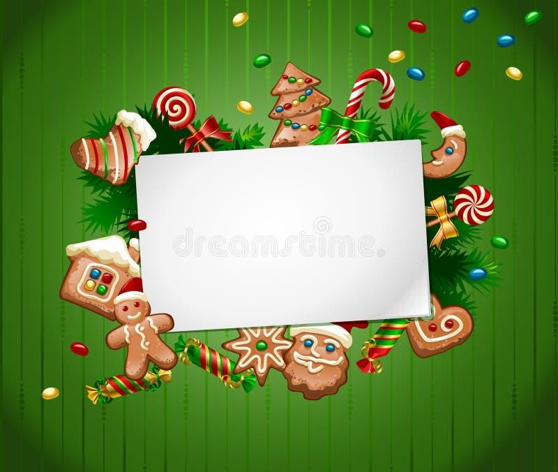 Fondo del dulce de la Navidad del ejemplo del vector ilustración del vector