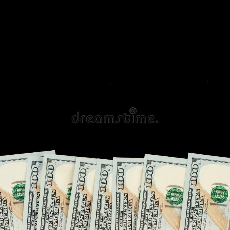 Fondo del efectivo del dinero de la riqueza con el billete de banco americano de la cuenta de dólares 100 imagen de archivo libre de regalías